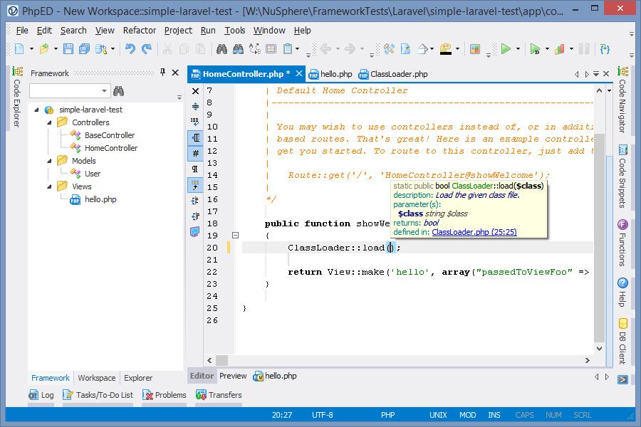 PHP Framework IDE: PhpED for Laravel