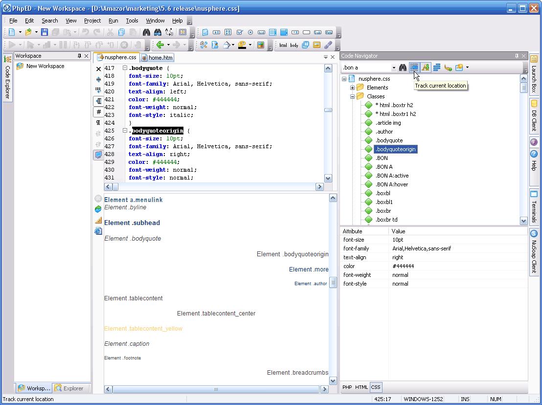 CSS Code tree in Code Navigator