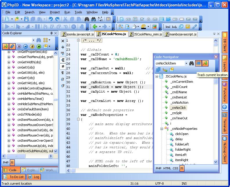 JavaScript Code tree in Code Navigator